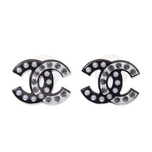 Chanel Large CC Earrings Pearl Crystal